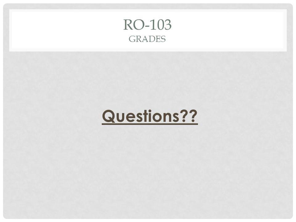 RO-103 GRADES Questions??