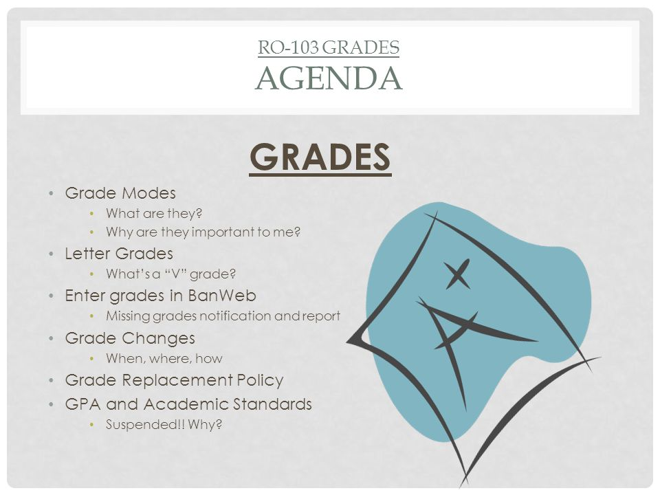 RO-103 GRADES AGENDA GRADES Grade Modes What are they.