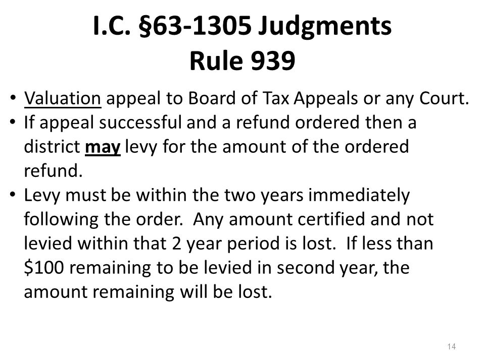 I.C. §63-1305 Judgments Rule 939 Valuation appeal to Board of Tax Appeals or any Court. If appeal successful and a refund ordered then a district may