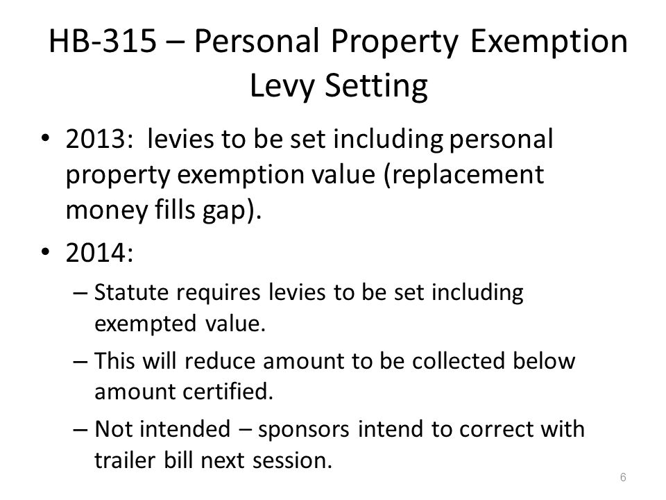 HB-315 – Personal Property Exemption Levy Setting 2013: levies to be set including personal property exemption value (replacement money fills gap). 20