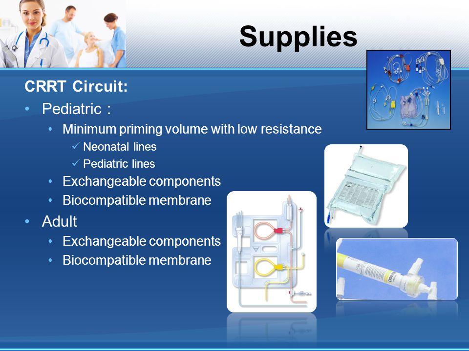Supplies CRRT Circuit: Pediatric : Minimum priming volume with low resistance Neonatal lines Pediatric lines Exchangeable components Biocompatible mem