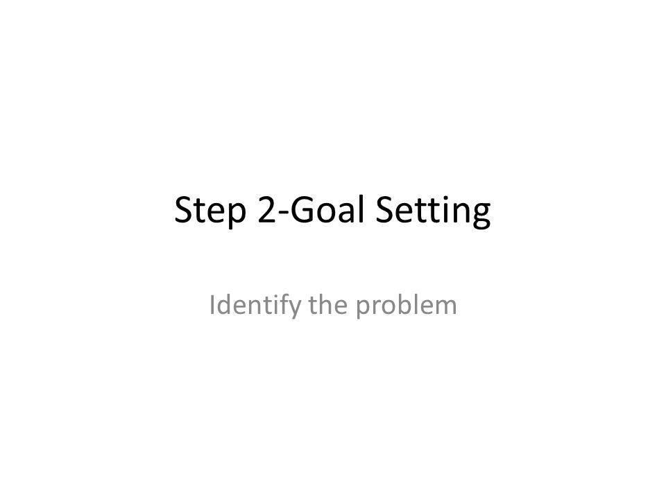 Step 2-Goal Setting Identify the problem