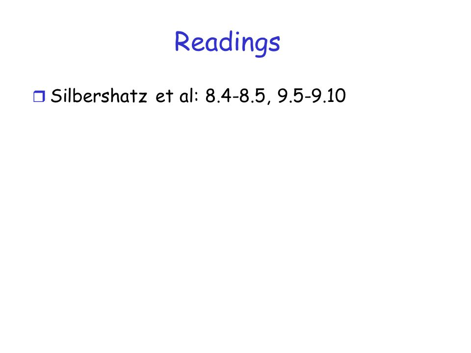 Readings r Silbershatz et al: 8.4-8.5, 9.5-9.10