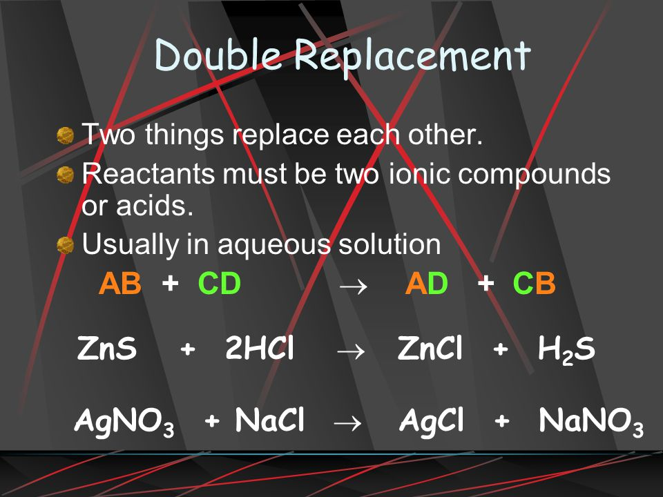 Double Replacement Two things replace each other.Reactants must be two ionic compounds or acids.