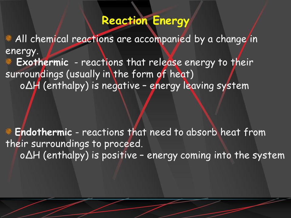 All chemical reactions are accompanied by a change in energy.