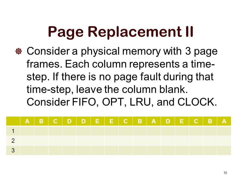 Page Replacement II Consider a physical memory with 3 page frames.