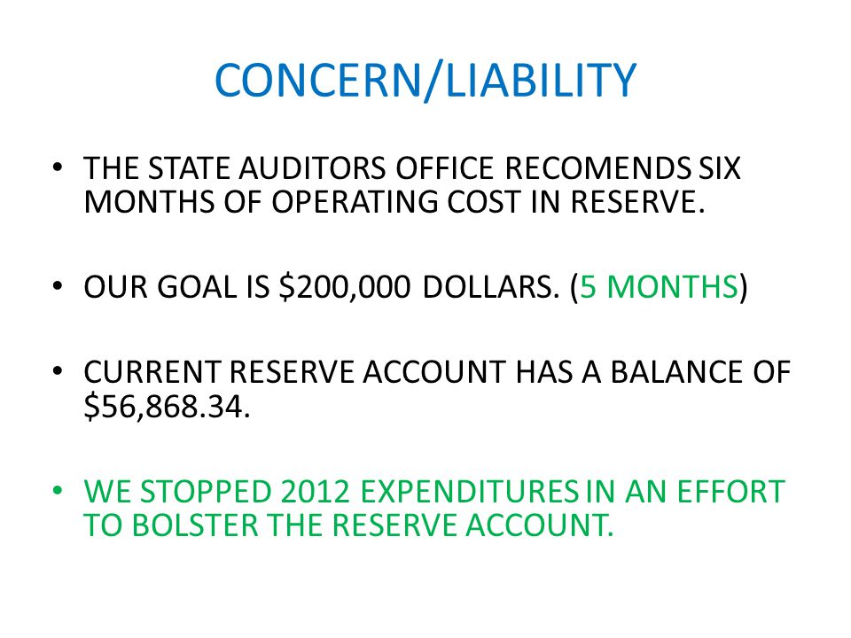 CONCERN/LIABILITY THE STATE AUDITORS OFFICE RECOMENDS SIX MONTHS OF OPERATING COST IN RESERVE.