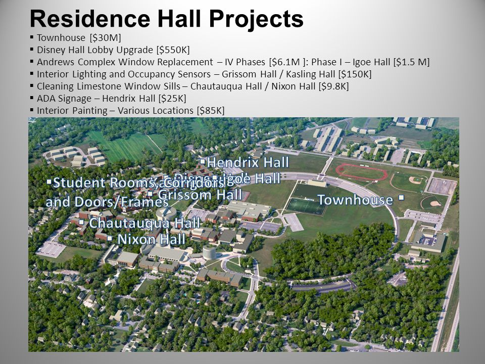 Residence Hall Projects Townhouse [$30M] Disney Hall Lobby Upgrade [$550K] Andrews Complex Window Replacement – IV Phases [$6.1M ]: Phase I – Igoe Hal
