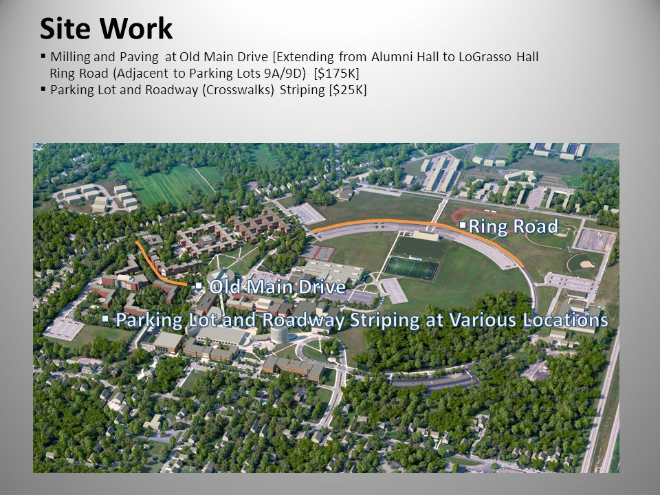 Site Work Milling and Paving at Old Main Drive [Extending from Alumni Hall to LoGrasso Hall Ring Road (Adjacent to Parking Lots 9A/9D) [$175K] Parking