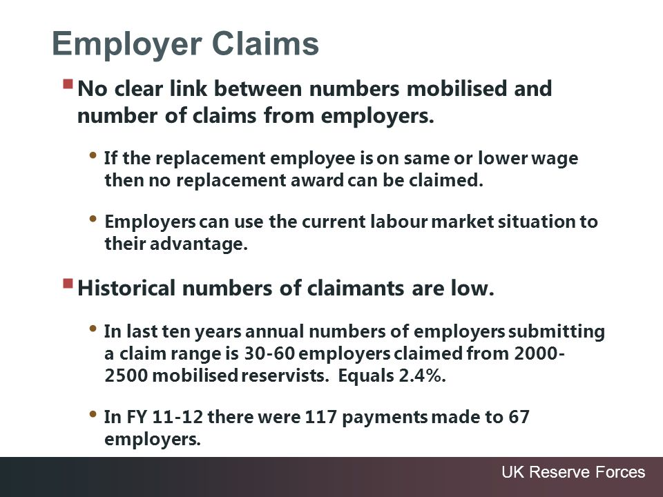 UK Reserve Forces Employer Claims No clear link between numbers mobilised and number of claims from employers. If the replacement employee is on same
