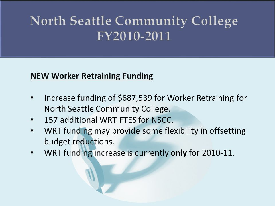 NEW Worker Retraining Funding Increase funding of $687,539 for Worker Retraining for North Seattle Community College.