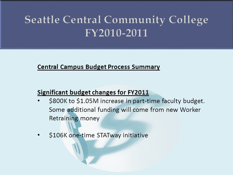 Central Campus Budget Process Summary Significant budget changes for FY2011 $800K to $1.05M increase in part-time faculty budget.
