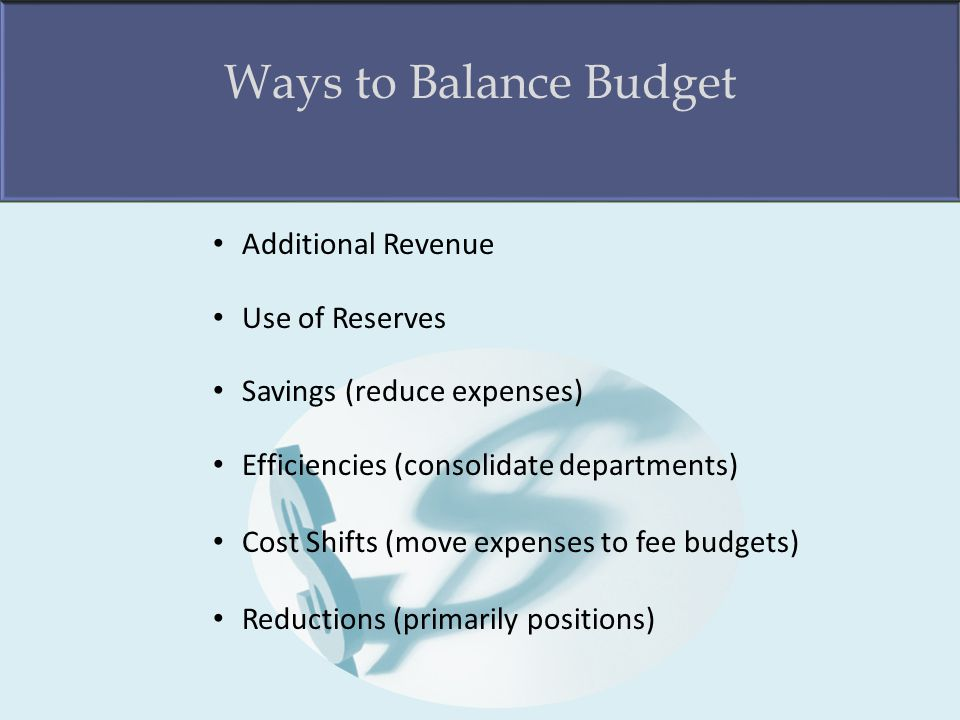 Ways to Balance Budget Additional Revenue Use of Reserves Savings (reduce expenses) Efficiencies (consolidate departments) Cost Shifts (move expenses to fee budgets) Reductions (primarily positions)