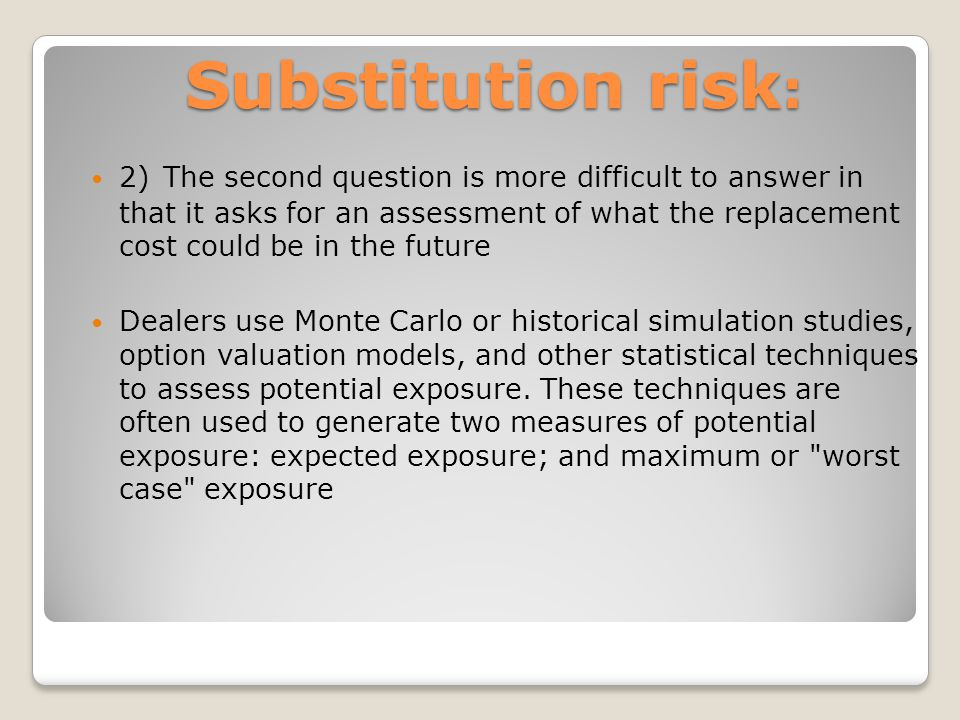 Substitution risk : 2) The second question is more difficult to answer in that it asks for an assessment of what the replacement cost could be in the future Dealers use Monte Carlo or historical simulation studies, option valuation models, and other statistical techniques to assess potential exposure.
