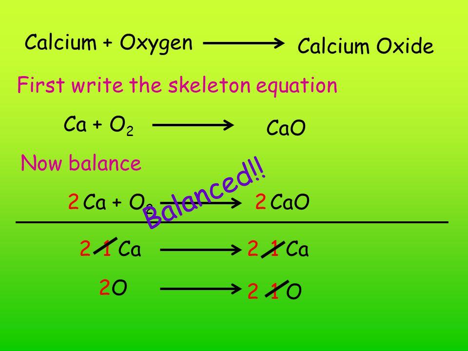 Hydrogen + oxygen Dihydrogen monoxide First write the skeleton equation H 2 + O 2 H2OH2O Now balance H 2 + O 2 H2OH2O 2 H 2 O 1 O Balanced!.