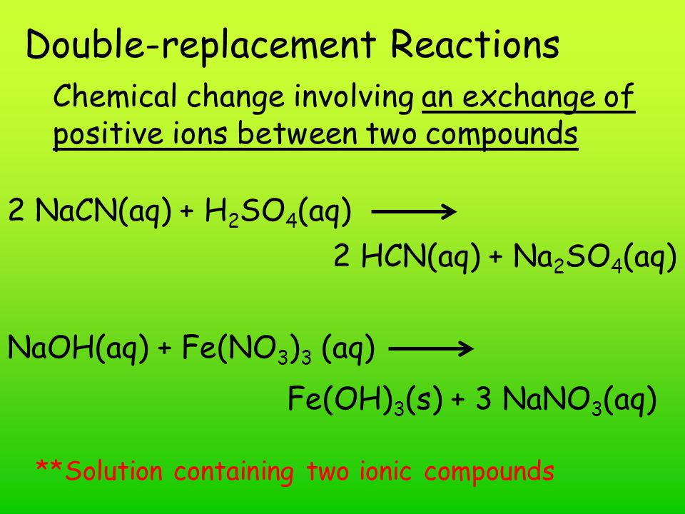Double-replacement Reactions Chemical change involving an exchange of positive ions between two compounds 2 NaCN(aq) + H 2 SO 4 (aq) 2 HCN(aq) + Na 2