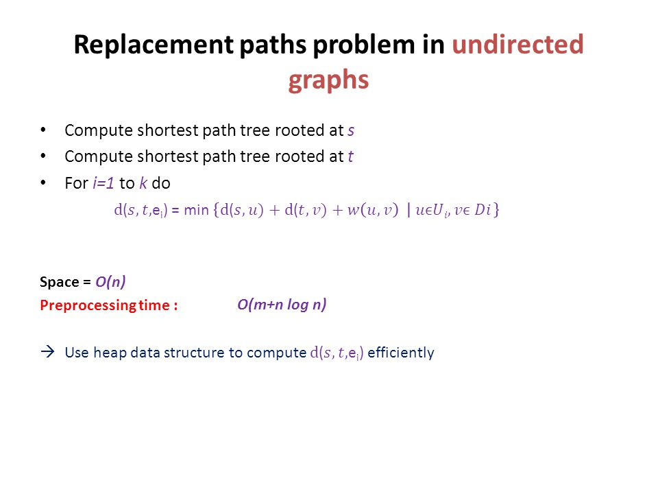 Replacement paths problem in undirected graphs O(m+n log n)