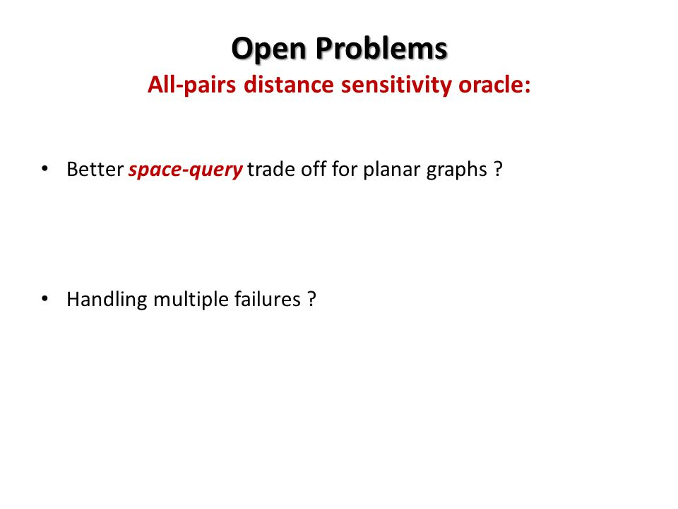 Open Problems Open Problems All-pairs distance sensitivity oracle: Better space-query trade off for planar graphs .