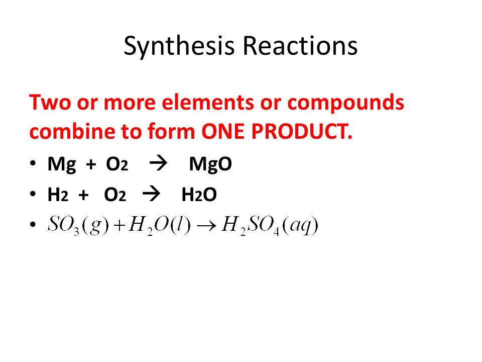 Decomposition Reactions ONE REACTANT (compound) breaks into elements or smaller compounds.