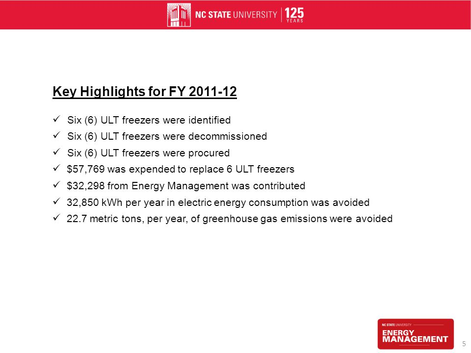 Key Highlights for FY 2011-12 Six (6) ULT freezers were identified Six (6) ULT freezers were decommissioned Six (6) ULT freezers were procured $57,769 was expended to replace 6 ULT freezers $32,298 from Energy Management was contributed 32,850 kWh per year in electric energy consumption was avoided 22.7 metric tons, per year, of greenhouse gas emissions were avoided 5