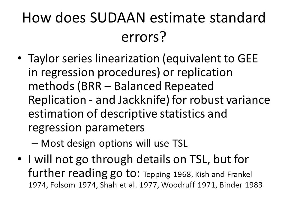 General useful options on all procedure statements in SUDAAN Output statements PRINT statements produce a set of formatted and labeled tables that can go by default to the.LST file in SAS-callable SUDAAN.