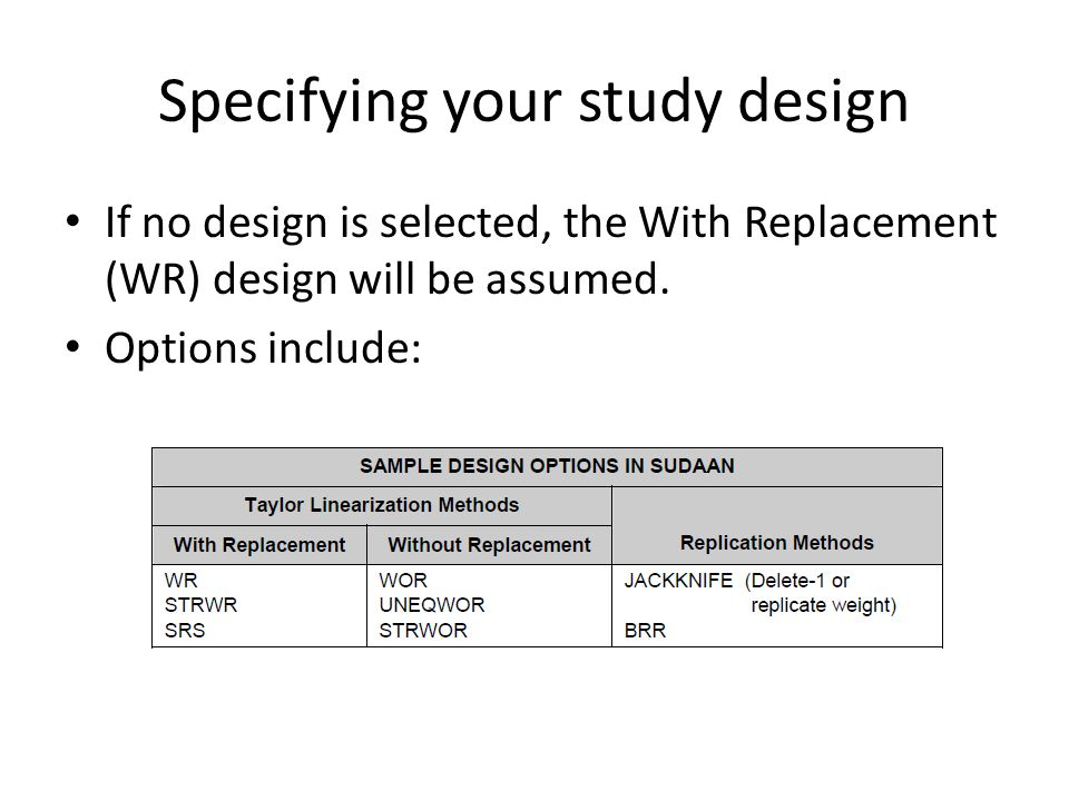 Specifying your study design With Replacement options DESIGN=WR Sampling with replacement at the first stage (or with small sampling fractions) in every first-stage stratum.