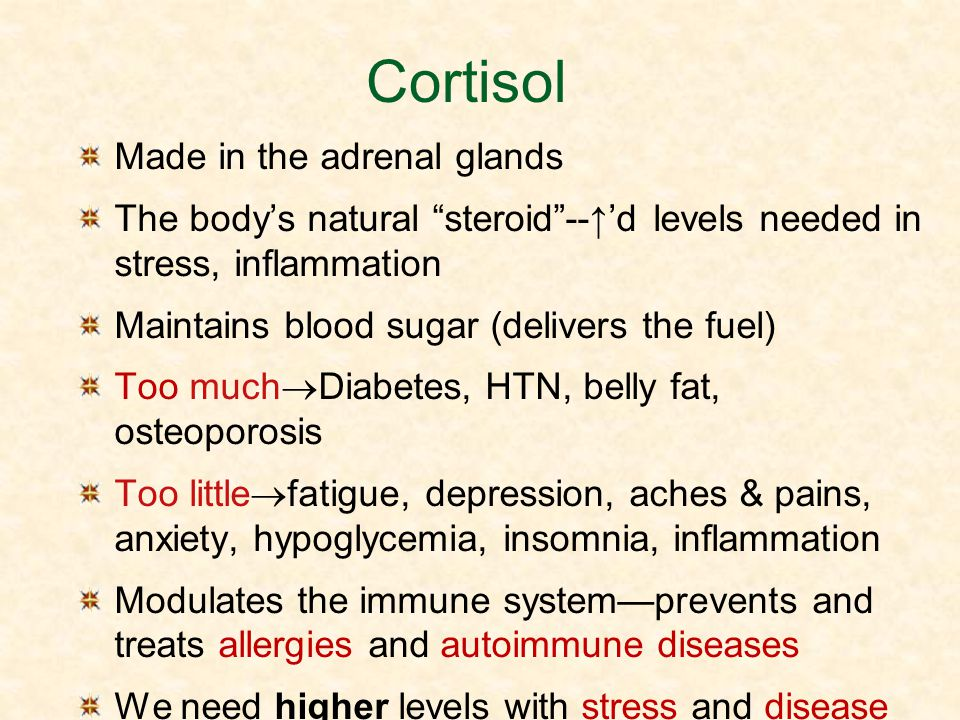 Cortisol Made in the adrenal glands The bodys natural steroid--d levels needed in stress, inflammation Maintains blood sugar (delivers the fuel) Too m