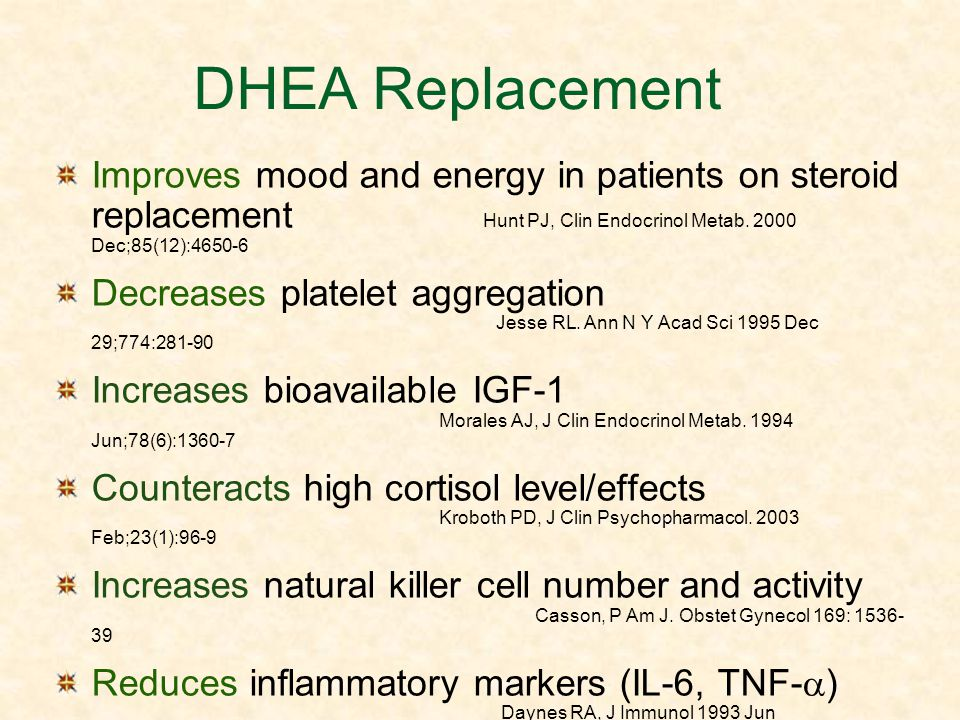 DHEA Replacement Improves mood and energy in patients on steroid replacement Hunt PJ, Clin Endocrinol Metab. 2000 Dec;85(12):4650-6 Decreases platelet