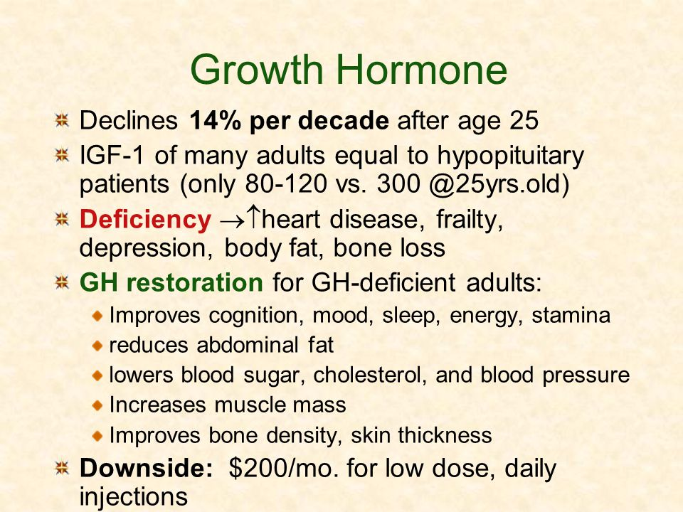 Growth Hormone Declines 14% per decade after age 25 IGF-1 of many adults equal to hypopituitary patients (only 80-120 vs. 300 @25yrs.old) Deficiency h