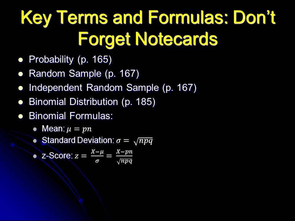Key Terms and Formulas: Dont Forget Notecards