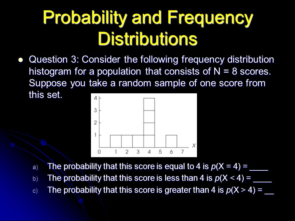Probability and Frequency Distributions Question 3: Consider the following frequency distribution histogram for a population that consists of N = 8 sc