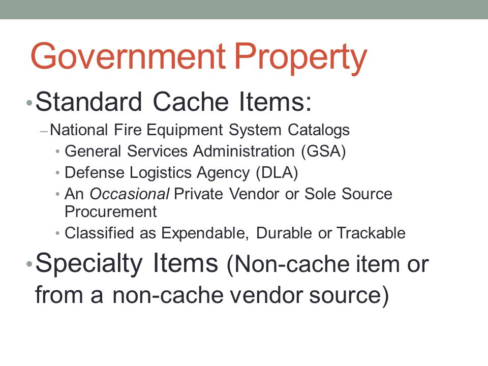 Government Property Standard Cache Items: – National Fire Equipment System Catalogs General Services Administration (GSA) Defense Logistics Agency (DLA) An Occasional Private Vendor or Sole Source Procurement Classified as Expendable, Durable or Trackable Specialty Items (Non-cache item or from a non-cache vendor source)
