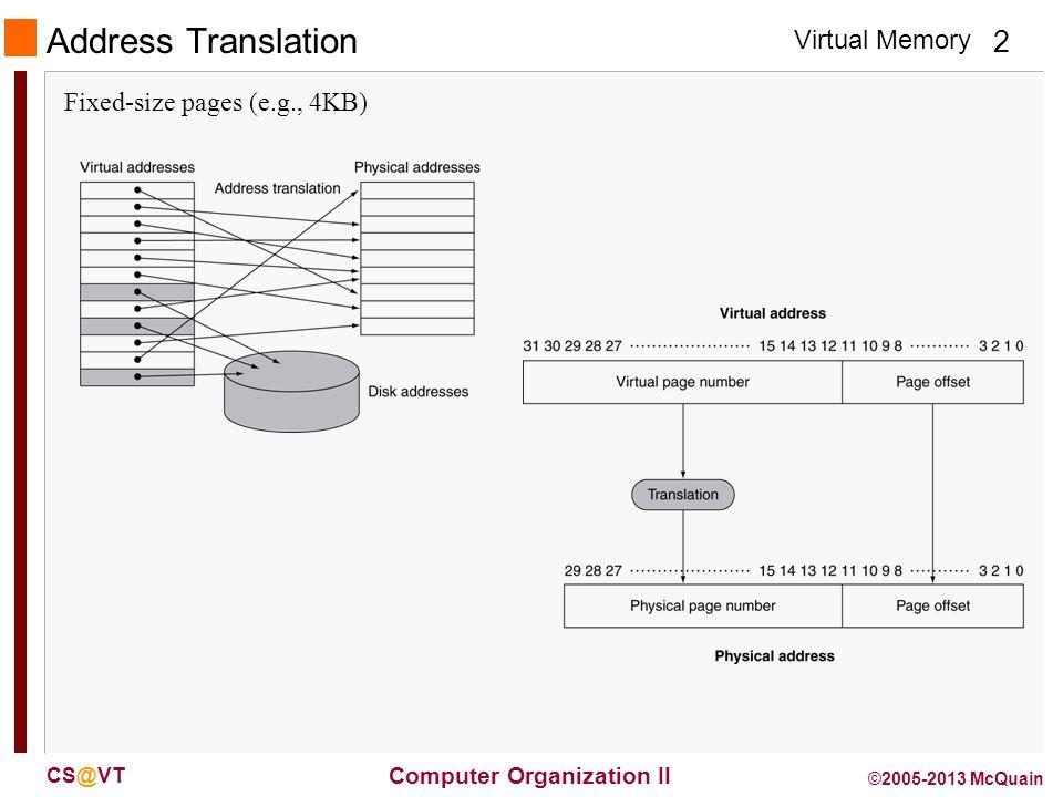 Virtual Memory 2 Computer Organization II CS@VT ©2005-2013 McQuain Address Translation Fixed-size pages (e.g., 4KB)