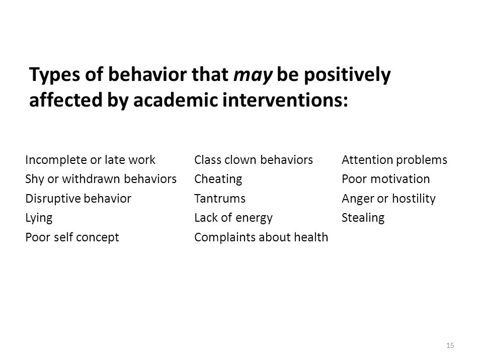 15 Types of behavior that may be positively affected by academic interventions: Incomplete or late workClass clown behaviorsAttention problems Shy or