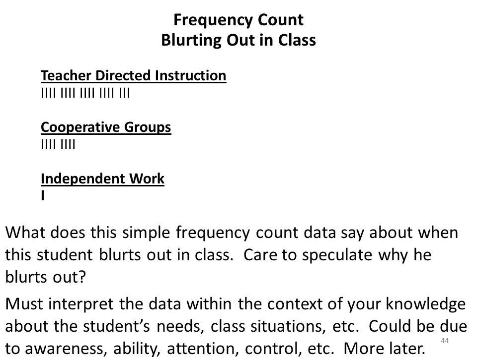 44 Frequency Count Blurting Out in Class Teacher Directed Instruction IIII IIII IIII IIII III Cooperative Groups IIII Independent Work I What does thi