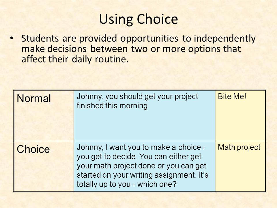 Using Choice Students are provided opportunities to independently make decisions between two or more options that affect their daily routine.