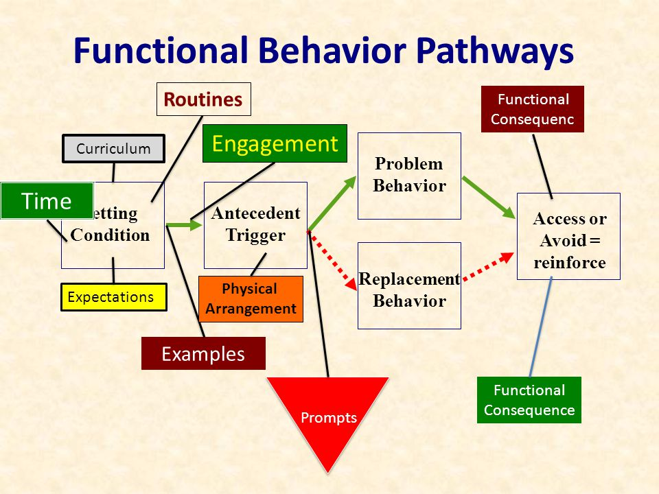 Functional Behavior Pathways Setting Condition Problem Behavior Antecedent Trigger Access or Avoid = reinforce Replacement Behavior Curriculum Expectations Time Routines Examples Engagement Prompts Physical Arrangement Functional Consequenc e Functional Consequence