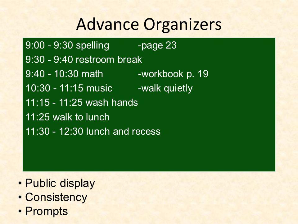 Advance Organizers 9:00 - 9:30 spelling -page 23 9:30 - 9:40 restroom break 9:40 - 10:30 math -workbook p.