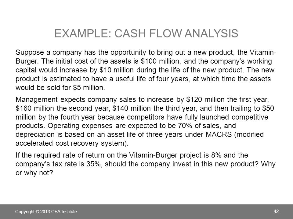 EXAMPLE: CASH FLOW ANALYSIS Suppose a company has the opportunity to bring out a new product, the Vitamin- Burger. The initial cost of the assets is $