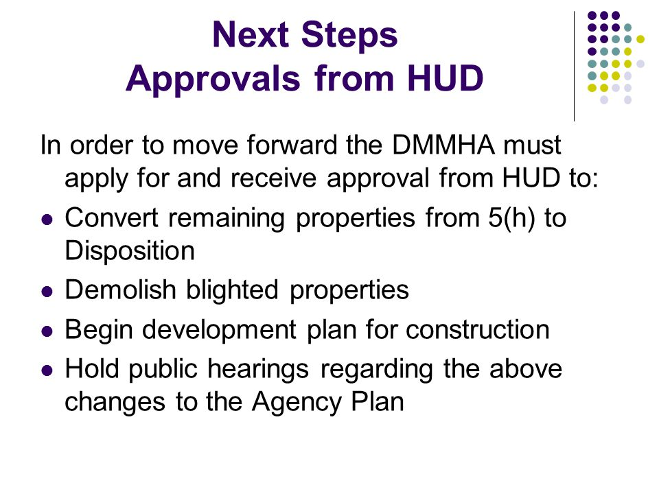 Next Steps Approvals from HUD In order to move forward the DMMHA must apply for and receive approval from HUD to: Convert remaining properties from 5(h) to Disposition Demolish blighted properties Begin development plan for construction Hold public hearings regarding the above changes to the Agency Plan