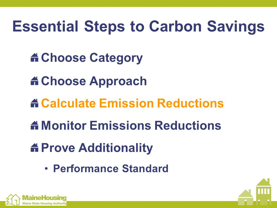 Essential Steps to Carbon Savings Choose Category Choose Approach Calculate Emission Reductions Monitor Emissions Reductions Prove Additionality Performance Standard
