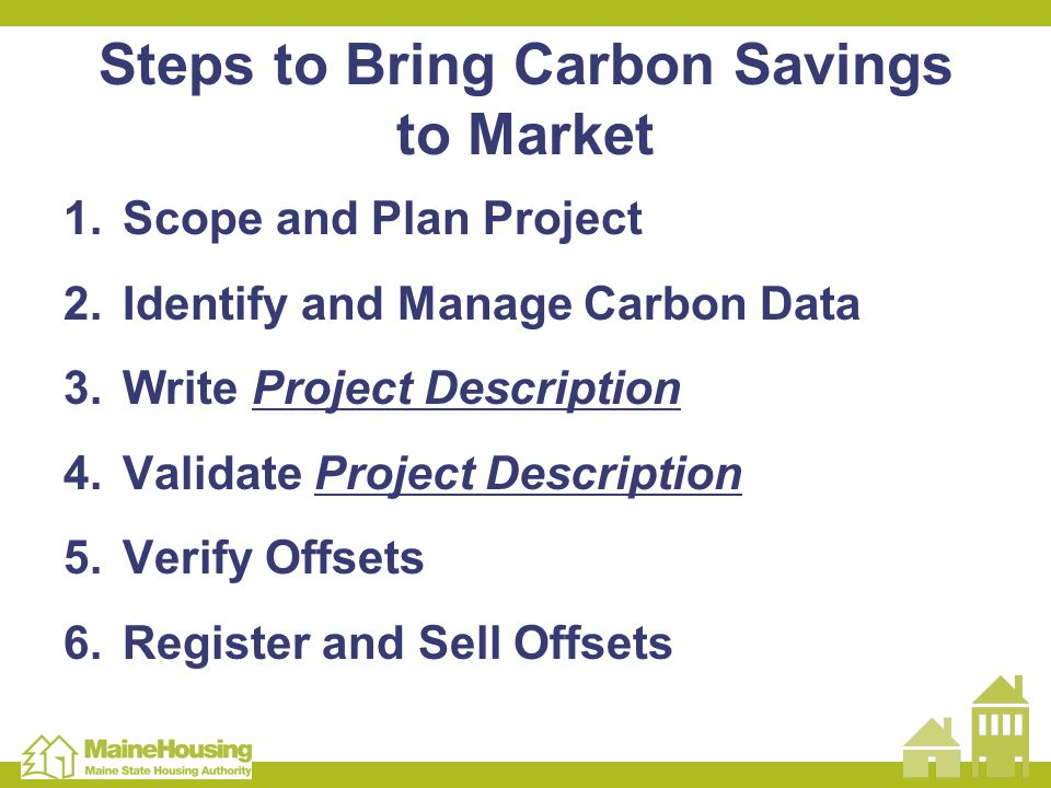 Steps to Bring Carbon Savings to Market 1.Scope and Plan Project 2.Identify and Manage Carbon Data 3.Write Project Description 4.Validate Project Desc
