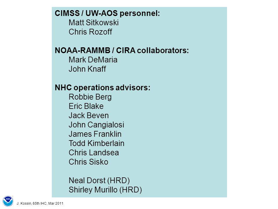 J. Kossin, 65th IHC, Mar 2011 CIMSS / UW-AOS personnel: Matt Sitkowski Chris Rozoff NOAA-RAMMB / CIRA collaborators: Mark DeMaria John Knaff NHC opera