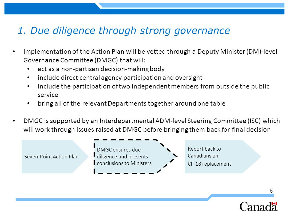 6 1. Due diligence through strong governance Implementation of the Action Plan will be vetted through a Deputy Minister (DM)-level Governance Committe
