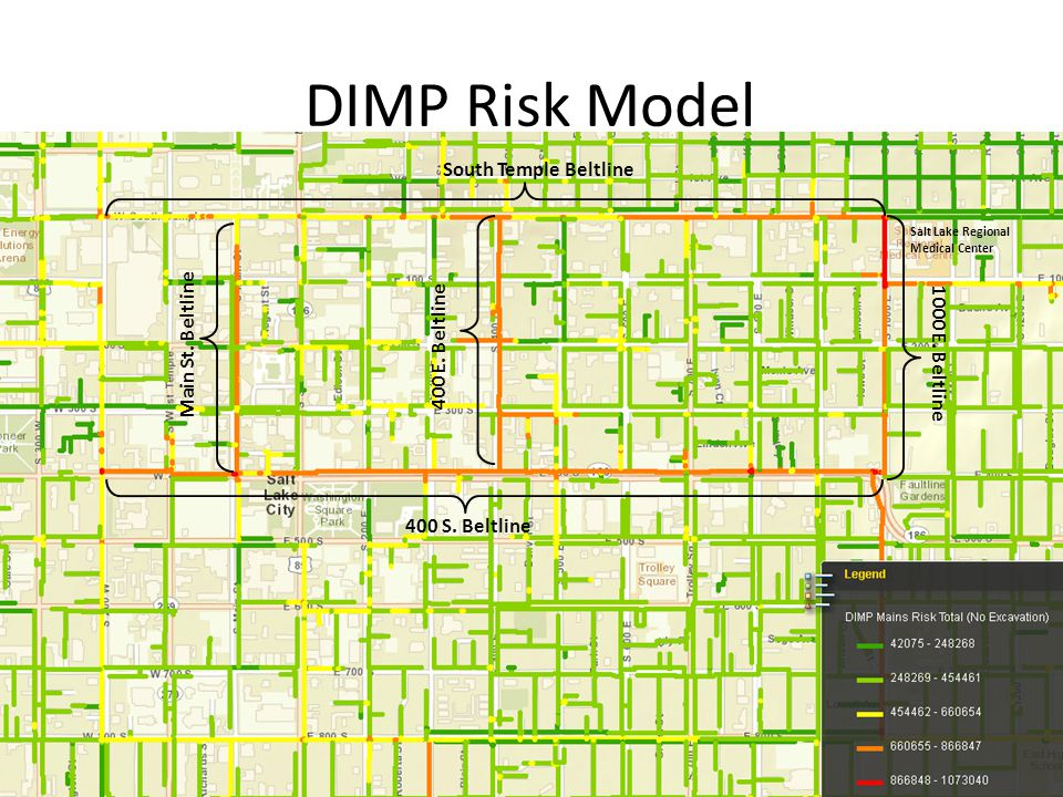 DIMP Risk Model Screen shot of DIMP 13 400 S.Beltline 1000 E.