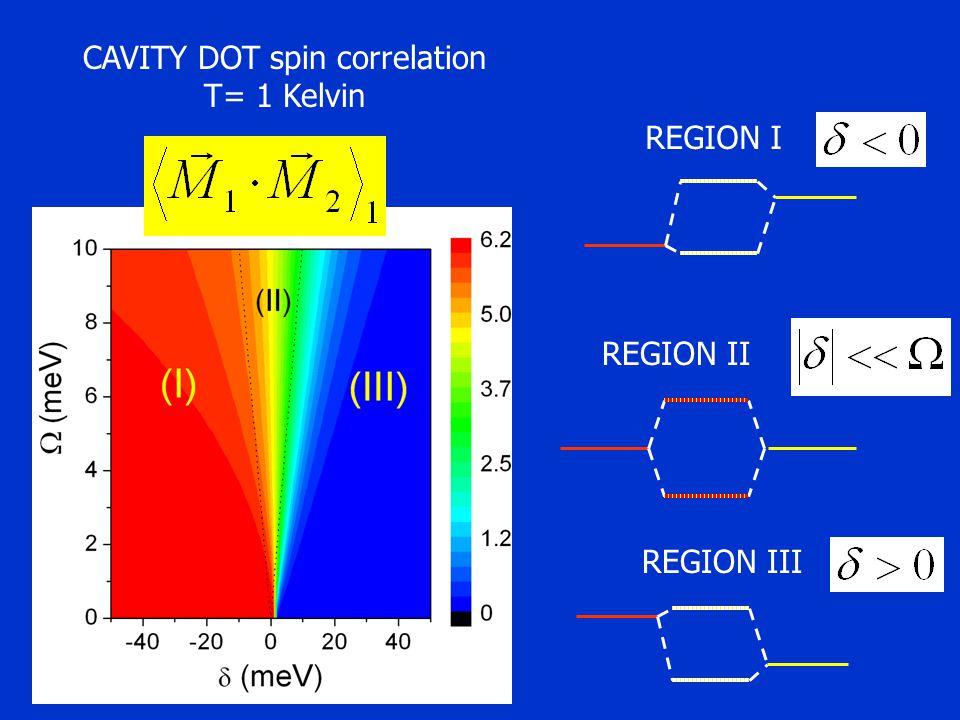 CAVITY DOT spin correlation T= 1 Kelvin REGION I REGION III REGION II