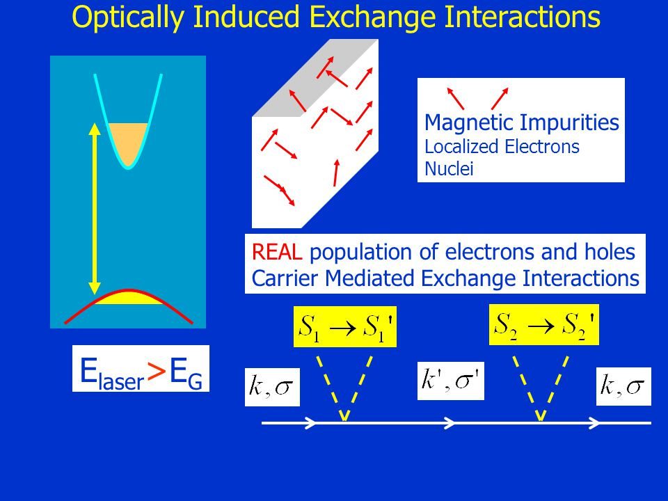 Magnetic Impurities Localized Electrons Nuclei E laser >E G REAL population of electrons and holes Carrier Mediated Exchange Interactions Optically In