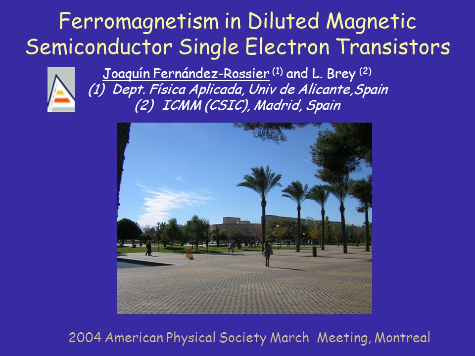 Ferromagnetism in Diluted Magnetic Semiconductor Single Electron Transistors Joaquín Fernández-Rossier (1) and L. Brey (2) (1)Dept. Física Aplicada, U