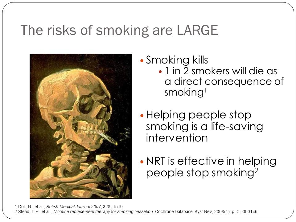 The logic of cut down then stop 70% of smokers intend to stop smoking at some time, but only 12% are ready to stop in the next month NRT aids them to cut down smoking and facilitates quitting Cutting down without NRT may lead to compensatory smoking Cutting down with NRT can have some positive effects Moore D, Aveyard P, Connock M, Wang D, Fry-Smith A, Barton P.