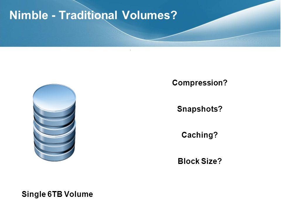 Compression? Snapshots? Caching? Block Size? Single 6TB Volume Nimble - Traditional Volumes?